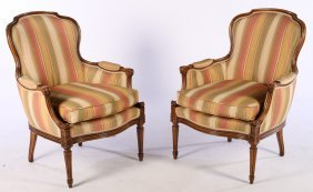 Pair Louis Xvi Style Carved Bergere Chairs C.1960