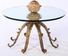 Brass Glass Gilt Wood Octopus Form Table