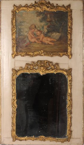 19th C. French Painted Trumeau Mirror Gilt Wood