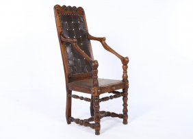 18th C. French Wood Chair Chip Carved Plank Seat