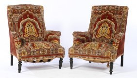 Pair Turkish Napoleon Iii Arm Chairs 1870