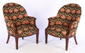 Pair Mahogany Barrel Back Library Chairs