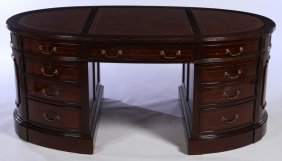 Oval 3 Part Mahogany Leather Top Writing Desk