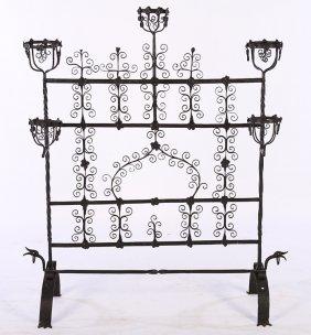 Spanish Renaissance Style Iron Firescreen C. 1910