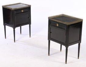 Pair Ebonized Louis Xvi Side Cabinets 1940