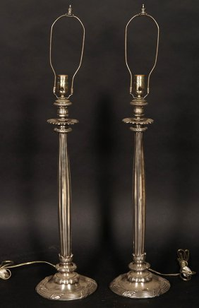 Pair Empire Metal Table Lamps Wreath Form