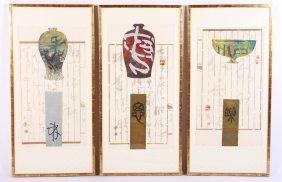 Set Of 3 Asian Prints In Gold Leaf/wood Frames