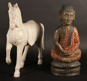 2 Pc Lot Carved Polychrome Wooden Buddha & Horse