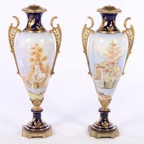 Large Pair Bronze Mounted Porcelain Urns Sevres