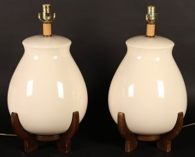 Matched Pair Ivory Colored Porcelain Lamps C1970