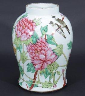 Polychromed Asian Inspired Porcelain Vase