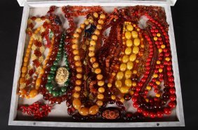 Shadow Box With 18 Bead Necklaces 6 Pins 1960