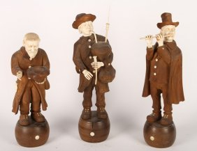 3 Wood And Ivory Figures Circa 1890