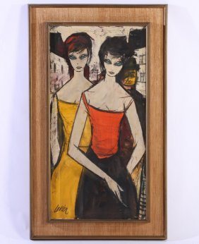 Charles Levier Femmes With Homme Signed Oil