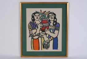 Fernand Leger Color Lithograph Signed In Monogram