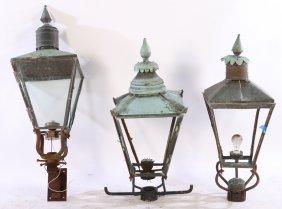 3 Copper Garden Lanterns Finial Top C.1910