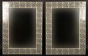 Pair Tessellated Bone Mirror Greek Key