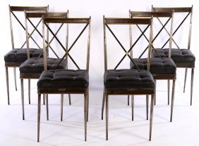Set 6 Iron Bronze Chairs Button Upholstered Seats