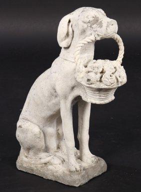 Cast Stone Dog With Flower Basket