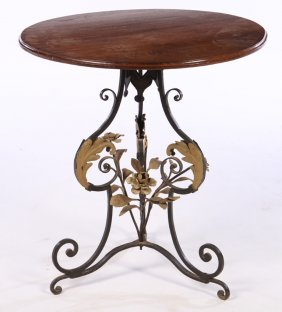 Wrought Iron Garden Table Round Wood Top