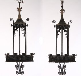 Pair Gothic Revival Wrought Iron Hanging Lanterns