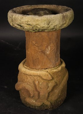 American Folk Art Carved Stone Bird Bath