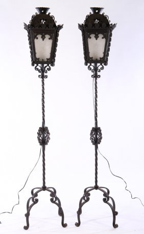 Pair Tole Wrought Iron Standing Torchieres Lights