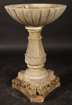 19th Cent. Italian Carved Marble Garden Fountain