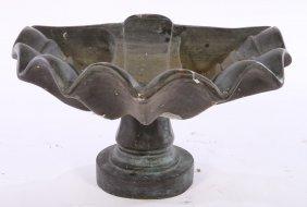 Bronze Shell Form Fountain Basin W/ Pedestal Base