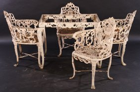 19th C Victorian Cast Iron Garden Table & Chairs