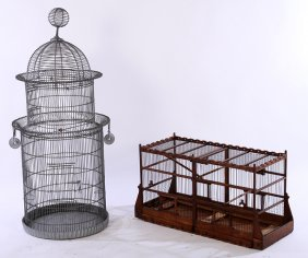 2 Bird Cages Galvanized Metal Carved Wood