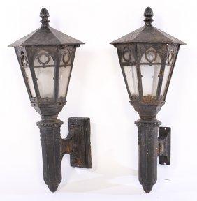 Pair Gothic Cast Iron Exterior Sconces 1910