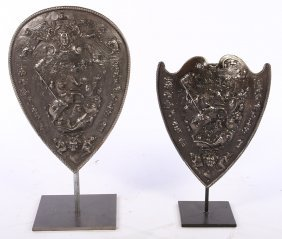 2 Polished Cast Iron Armorial Plaques 1910