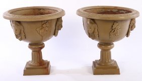 19th Cent. Cast Iron Garden Urns Victorian