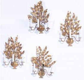 Set 4 Gilt Decorated Wrought Iron Sconces