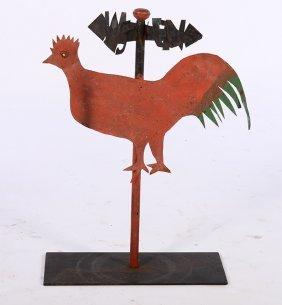 Folk Art Wrought Iron Rooster Weathervane