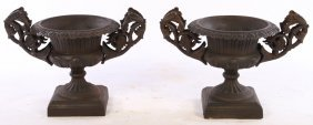 Pair Of Cast Iron Garden Urns Scrolling Handles
