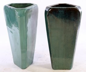 Large Pair Glazed Earthenware Garden Urns Tapered