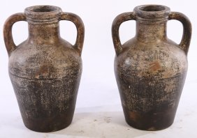 Pair Earthenware Wine Vessels Labeled Vino Rosso