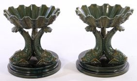 Pair Glazed Terracotta Tazzas Or Compotes