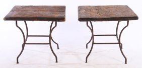Pair Side Tables Wood Plank Top Wrought Iron Base