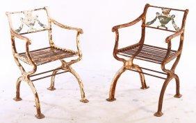 Pr Cast Iron & Bronze Garden Chairs Schinkel 1930