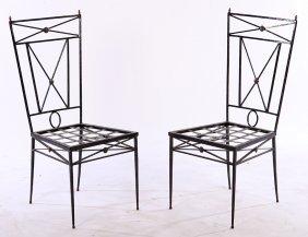 Pair Neoclassical Iron Chairs Bronze Decoration