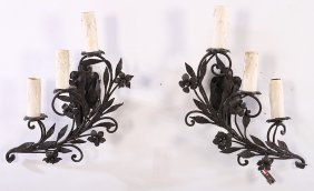 Pair Wrought Iron 3 Light Wall Sconces