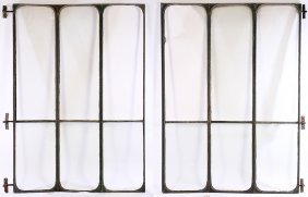 Six Panel 2 Part Iron Glass Room Divider 1880