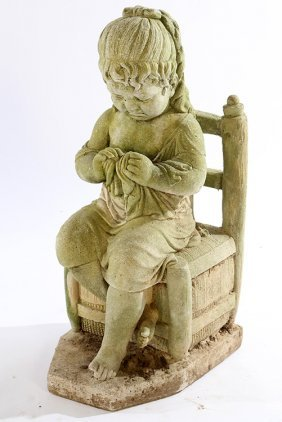 Small Cast Stone Figure Young Girl Seated
