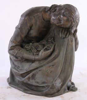 Bronze Sculpture Kneeling Woman Signed Zegna