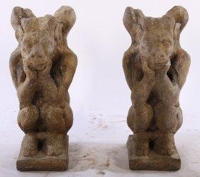 A Pair Of Cast Stone Winged Gargoyles