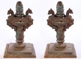 Rare Pair 19th Cent. Cast Iron Bridge Finials