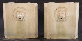 Pair Italian Carved Marble Fountains Lion Head